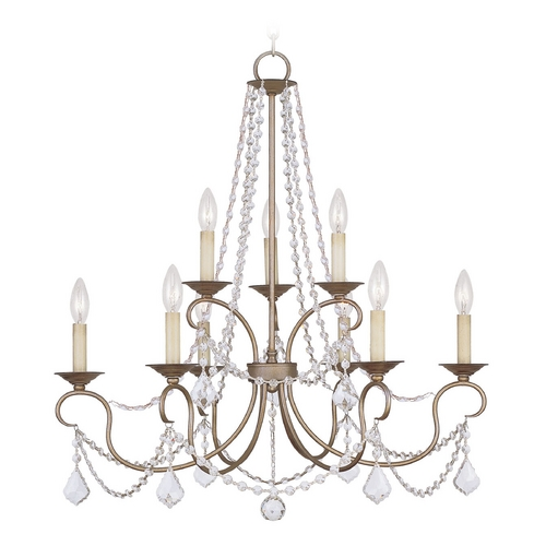 Livex Lighting Livex Lighting Pennington Antique Silver Leaf Crystal Chandelier 6519-73