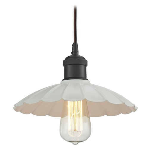 Elk Lighting Elk Lighting Corrine Oil Rubbed Bronze/white Pendant Light with Scalloped Shade 67041/1