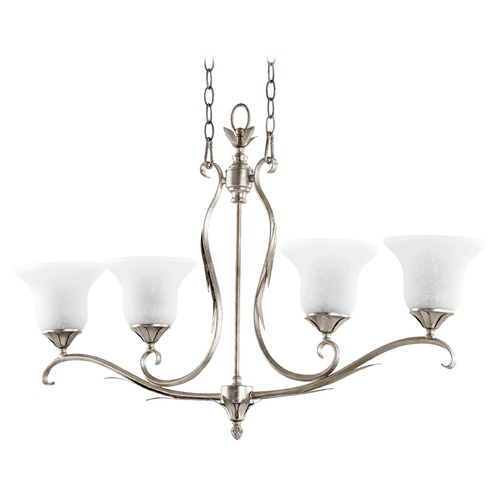 Quorum Lighting Quorum Lighting Flora Aged Silver Leaf Island Light with Bell Shade 6572-4-60