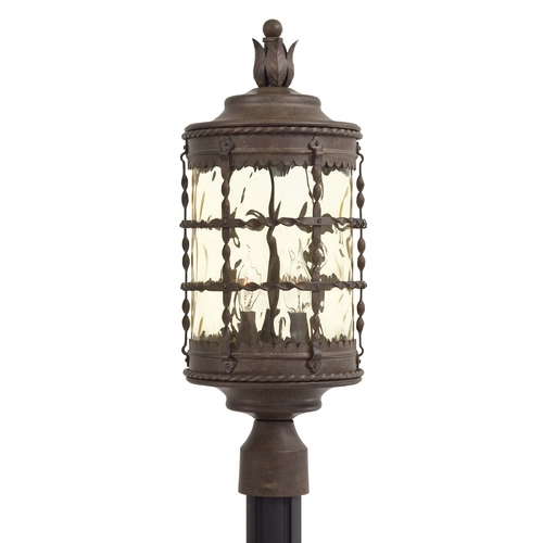 Minka Lavery Post Light with Beige / Cream Glass in Bronze Finish 8885-A61