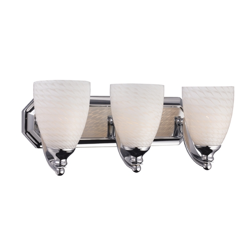 Elk Lighting Bathroom Light with Art Glass in Polished Chrome Finish 570-3C-WS