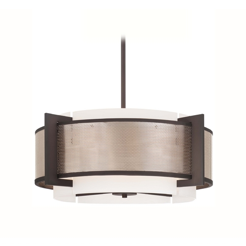 George Kovacs Lighting Modern Drum Pendant Light with White Glass in Brushed Nickel Finish P924-684