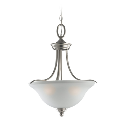Sea Gull Lighting Pendant Light with White Glass in Brushed Nickel Finish 65626-962