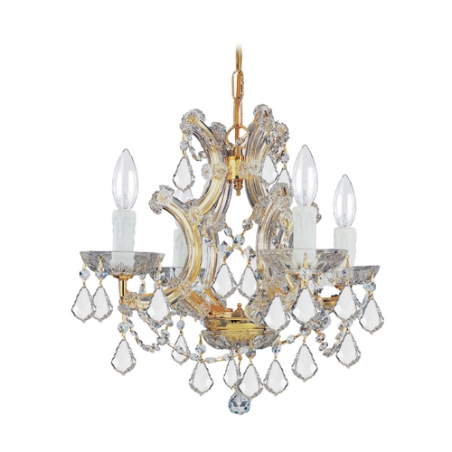 Crystorama Lighting Crystal Mini-Chandelier in Gold Finish 4474-GD-CL-S