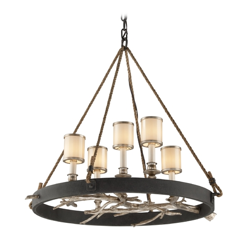 Troy Lighting Chandelier with White Glass in Bronze with Silver Leaf Finish F3446