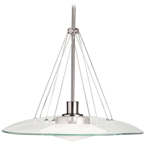 Kichler Lighting Kichler Modern Pendant Light with Clear Glass in Brushed Nickel Finish 2667NI