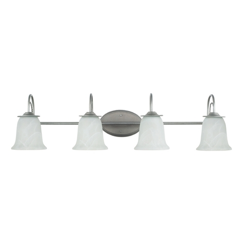 Sea Gull Lighting Bathroom Light with Alabaster Glass in Weathered Pewter Finish 44894-57