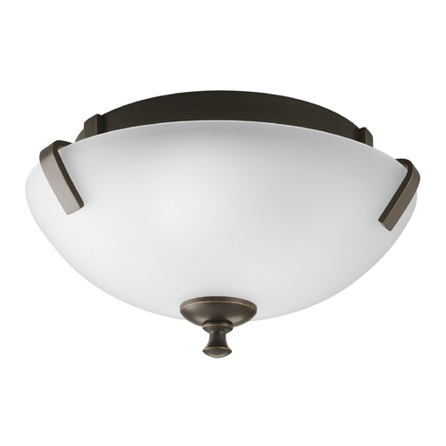 Progress Lighting Progress Flushmount Light with White Glass in Antique Bronze Finish P3290-20EBWB