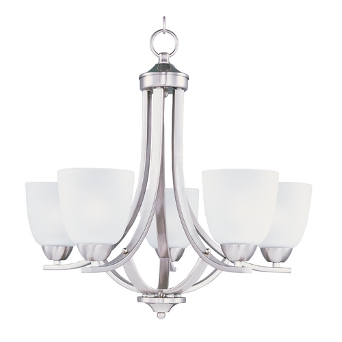Maxim Lighting Chandelier with White Glass in Satin Nickel Finish 11225FTSN