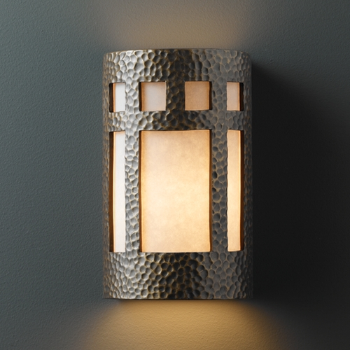 Justice Design Group Sconce Wall Light with White in Hammered Brass Finish CER-7345-HMBR