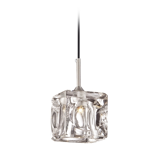 Lite Source Lighting Lite Source Lighting Ice Cube Ii Chrome LED Mini-Pendant Light with Square Shade LS-14631LED