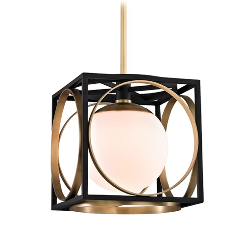 Hudson Valley Lighting Hudson Valley Lighting Wadsworth Aged Brass Pendant Light with Globe Shade 5810-AGB