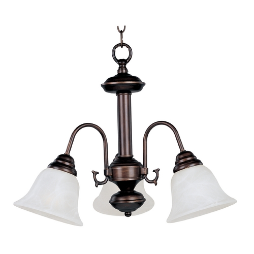 Maxim Lighting Mini-Chandelier with White Glass in Oil Rubbed Bronze Finish 2697MROI