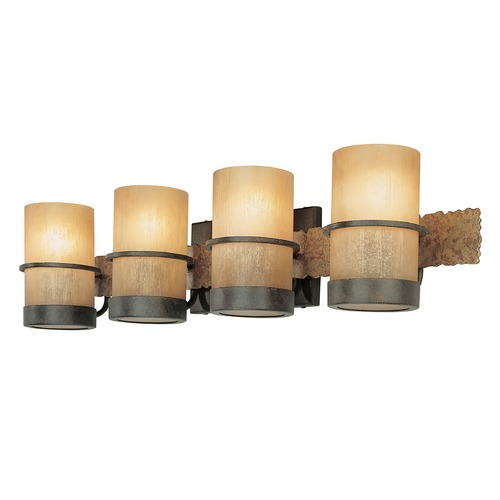 Troy Lighting Bathroom Light with Beige / Cream Glass in Bamboo Bronze Finish B1844BB