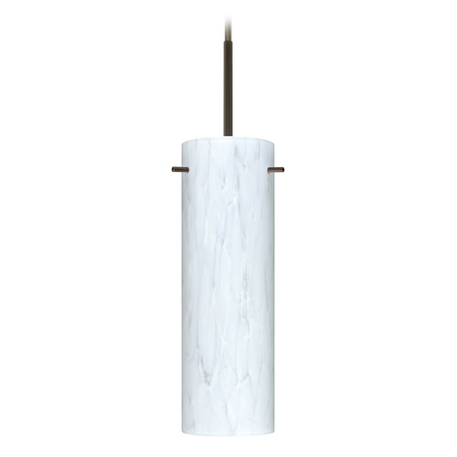 Besa Lighting Besa Lighting Copa Bronze Mini-Pendant Light with Cylindrical Shade 1BT-493019-BR