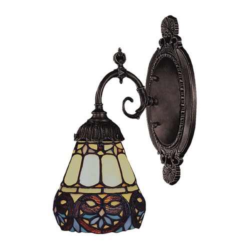 Elk Lighting Sconce with Tiffany Glass in Bronze Finish 071-TB-21