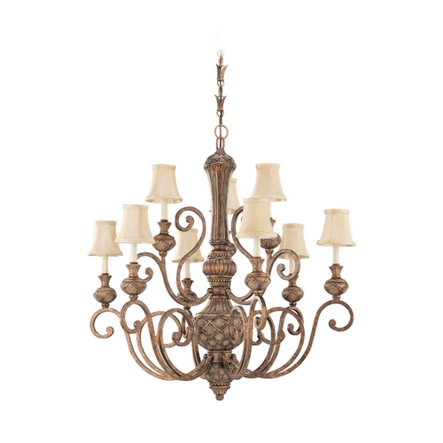 Sea Gull Lighting Chandelier with Beige / Cream Shades in Regal Bronze Finish 31252-758