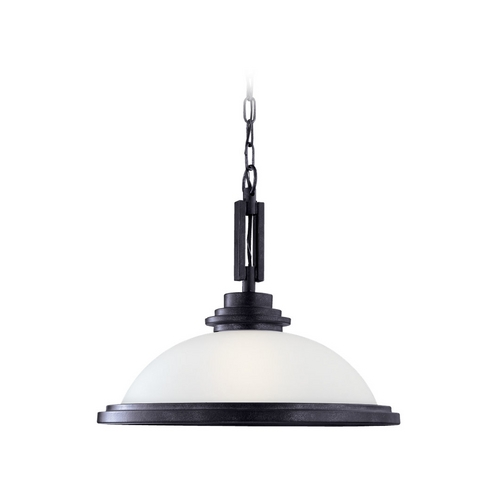 Sea Gull Lighting Modern Pendant Light with White Glass in Blacksmith Finish 65660-839