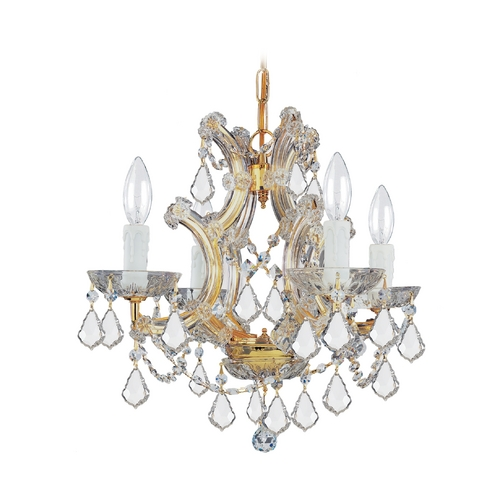Crystorama Lighting Crystal Mini-Chandelier in Gold Finish 4474-GD-CL-SAQ