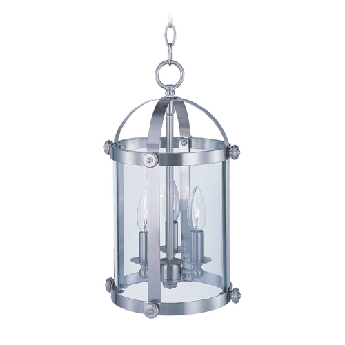 Maxim Lighting Drum Mini-Pendant Light with Clear Glass in Satin Nickel Finish 21552CLSN