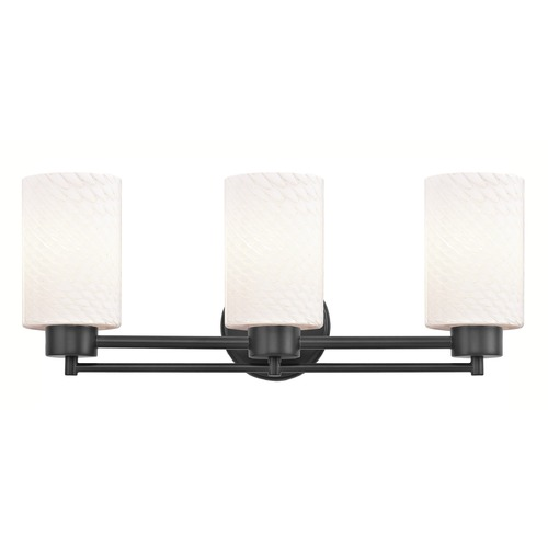 Design Classics Lighting Modern Bathroom Light White Glass Black 3 Lt 703-07 GL1020C