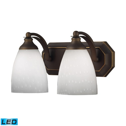 Elk Lighting Elk Lighting Bath and Spa Aged Bronze LED Bathroom Light 570-2B-WH-LED