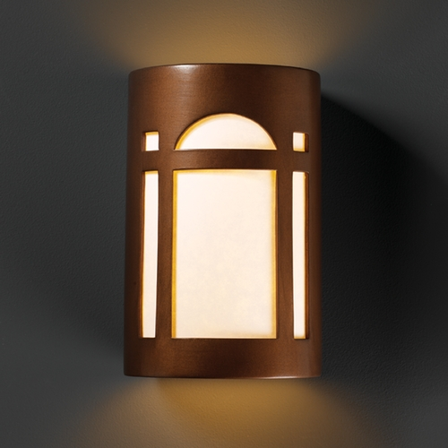 Justice Design Group Sconce Wall Light with White in Antique Copper Finish CER-7385-ANTC