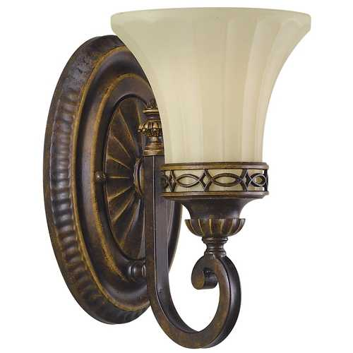 Feiss Lighting Sconce Wall Light with Beige / Cream Glass in Walnut Finish VS11201-WAL
