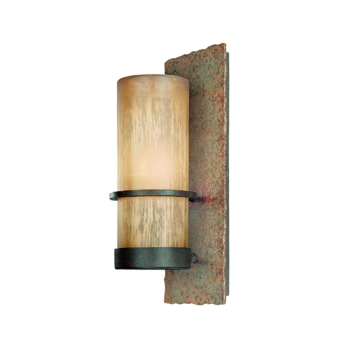 Troy Lighting Outdoor Wall Light with Beige / Cream Glass in Bamboo Bronze Finish B1851BB