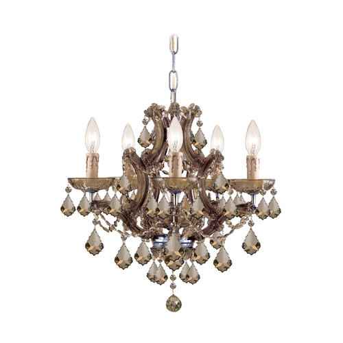 Crystorama Lighting Crystal Mini-Chandelier in Antique Brass Finish 4405-AB-GT-MWP