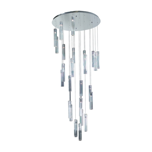 PLC Lighting Modern Multi-Light Pendant with Clear Glass in Polished Chrome Finish 21188 PC