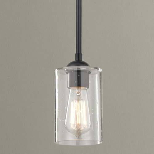 Design Classics Lighting Design Classics Gala Fuse Matte Black Mini-Pendant Light with Cylindrical Shade 581-07 GL1041C