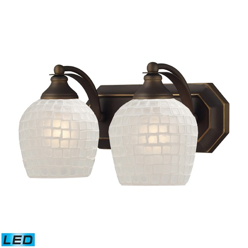 Elk Lighting Elk Lighting Bath and Spa Aged Bronze LED Bathroom Light 570-2B-WHT-LED