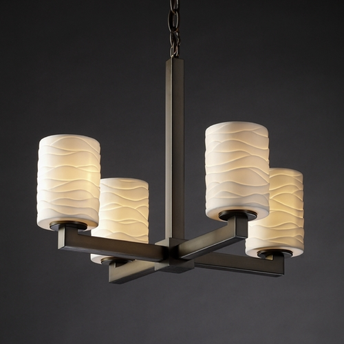 Justice Design Group Justice Design Group Limoges Collection Mini-Chandelier POR-8829-10-WAVE-DBRZ