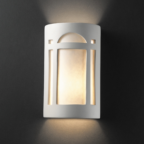 Justice Design Group Sconce Wall Light with White in Bisque Finish CER-7385-BIS