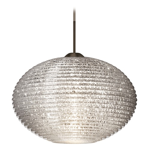 Besa Lighting Besa Lighting Pape Bronze LED Pendant Light with Globe Shade 1JT-4913GL-LED-BR