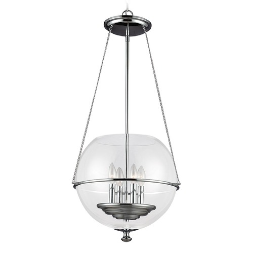 Sea Gull Lighting Sea Gull Lighting Havenwood Chrome Pendant Light with Globe Shade 6511904-05