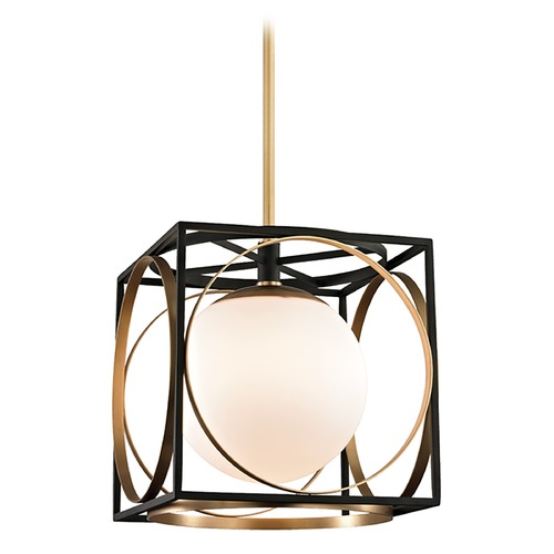 Hudson Valley Lighting Hudson Valley Lighting Wadsworth Aged Brass Pendant Light with Globe Shade 5814-AGB