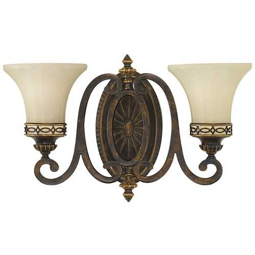 Feiss Lighting Sconce Wall Light with Beige / Cream Glass in Walnut Finish VS11202-WAL