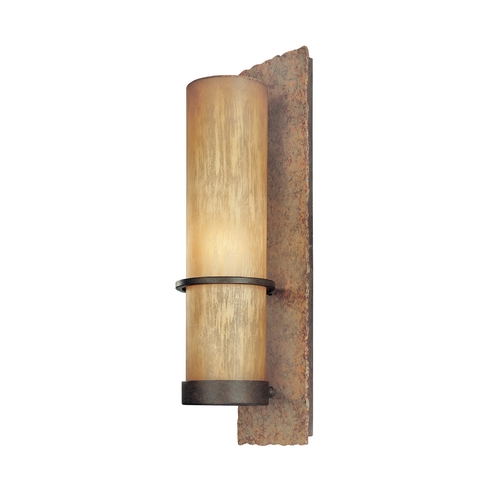 Troy Lighting Outdoor Wall Light with Beige / Cream Glass in Bamboo Bronze Finish B1852BB