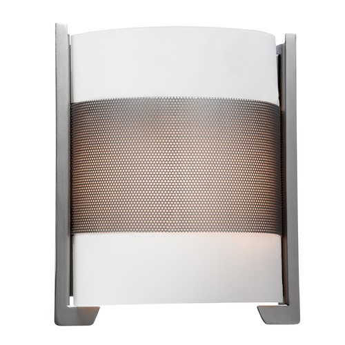 Access Lighting Modern Sconce Wall Light with White Glass in Brushed Steel Finish 20739-BS/OPL