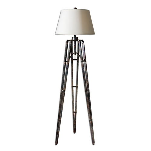 Uttermost Lighting Tripod Floor Lamp with White Shade 28460