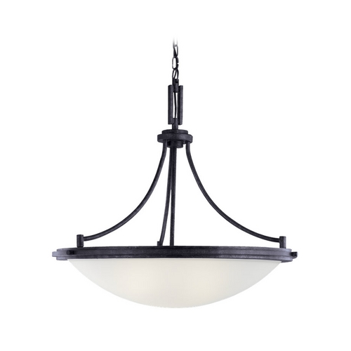 Sea Gull Lighting Modern Pendant Light with White Glass in Blacksmith Finish 65662-839