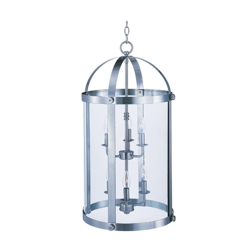 Maxim Lighting Maxim Lighting Tara Satin Nickel Pendant Light with Cylindrical Shade 21554CLSN