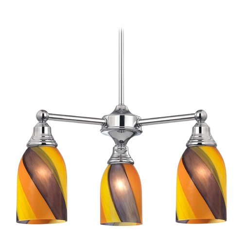 Design Classics Lighting Mini-Chandelier with Art Glass in Chrome Finish 598-26 GL1015D