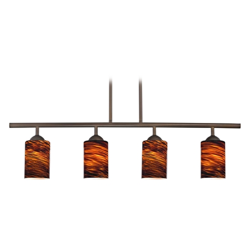 Design Classics Lighting Modern Island Light with Brown Glass in Neuvelle Bronze Finish 718-220 GL1023C