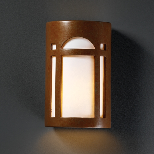 Justice Design Group Sconce Wall Light with White in Rust Patina Finish CER-7385-PATR