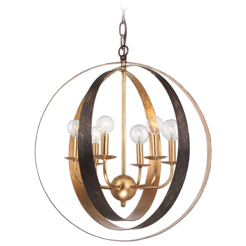 Crystorama Lighting Mid-Century Modern Pendant Light Bronze / Gold Luna by Crystorama Lighting 585-EB-GA