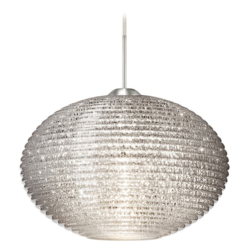 Besa Lighting Besa Lighting Pape Ribbed Glass Satin Nickel LED Pendant Light 1JT-4913GL-LED-SN