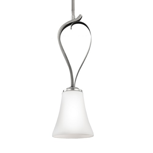 Feiss Lighting Feiss Summerdale Satin Nickel Mini-Pendant Light with Bell Shade P1333SN